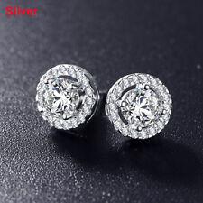 Women Romantic Sliver Plated Hearts Arrows Cut Cubic Zirconia Stud Earrings Silver