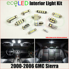 Fits 2000-2006 GMC Sierra WHITE LED Interior Light Replacement Package Kit 9 PCS