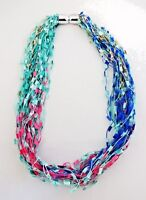 Confetti Scarf Turquoise Blue Pink Necklace Magnetic Closure Multi-color