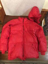 VINTAGE UNBRANDED LARGE DOWN PUFFER JACKET Red Mens Detachable Hood Ski Coat