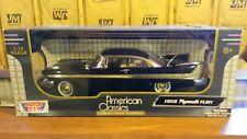 DIECAST CAR & DISPLAY CASE 1958 PLYMOUTH FURY BLACK MOTORMAX 73115 1/18 SCALE