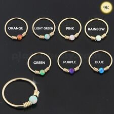 9K Yellow Gold dia 8mm Spring Coil end with Opal Stone Hoop Nose Ring many Color