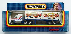 1990 Matchbox Convoy CY-28 Mack Container Trailer WHITE / BIG TOP CIRCUS