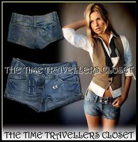 KATE MOSS TOPSHOP Blue Distressed Denim Hot Pants Shorts W26 UK 6 8 FREE P&P