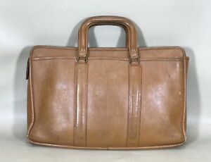 Vintage Coach Made In USA Glove Tan Cowhide Leather Business Briefcase Rare