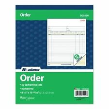 5 Adams DC8100 Sales Order Books-Carbonless Duplicate - Letter Size-50 Sets/Book