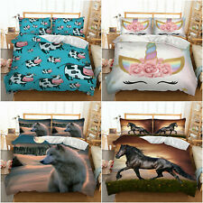 New ListingAll Size Bedding Duvet Cover Set Animal Comforter Cover Pillowcase Horse Cartoon