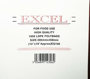 """2000x EXCEL CLEAR PLASTIC LDPE FOOD POLY BAGS 12""""x18"""" 100G (2x BOX)"""
