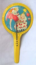 Vintage Tin Noise Maker - Fairy Playing Flute with a Clown - TC - U.S.A.