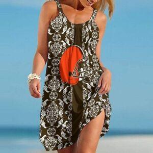 Cleveland Browns Women Summer Beach Mini Dress Sleeveless Loose Tank Sundress
