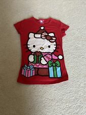 Girl's Glitter Hello Kitty Christmas Shirt Size 7-8