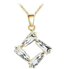 Luxury Yellow Gold White Cubic Zircon Winter Rhombus Pendant Necklace N359