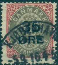 Denmark #80v (48v1) 35ore on 20ore, Pearl Flaw used F/Vf Facit $240.00