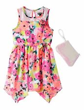 GIRLS Easter DRESS PINK SEQUIN Chiffon Dress Size 6X with Free Purse CUTE
