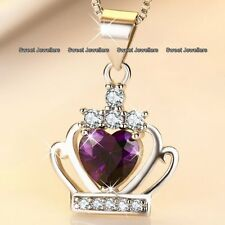 CHRISTMAS GIFTS For Her Amethyst Purple Crystal Heart Necklace Silver Wife Women