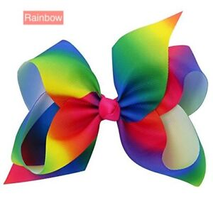 "6"" Rainbow Hair Bow Clip Jojo Style Large - Girls Teens Kids School Dance Party"
