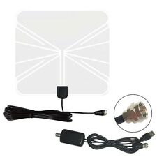Digital Indoor 1080P HDTV TV Flat Antenna High Gain Amplifer & 4m Cable 50 Miles