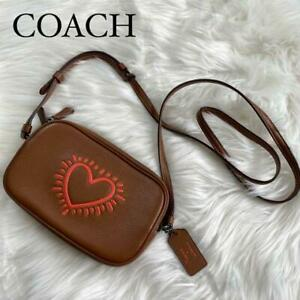 COACH Keith Haring Shoulder Bag Leather Brown