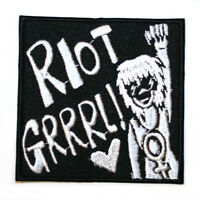 Riot Grrrl Feminist Feminism Iron On Patch Embroidered Sew On Black