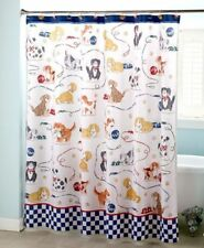 New Playful Dogs Shower Curtain with 12 Coordinating Shower Hooks