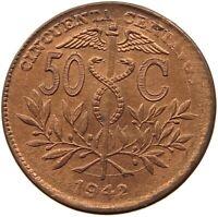 BOLIVIA 50 CENTAVOS 1942 UNC WEAK STRUCK OFF-CENTER RED COLOR #t60 389