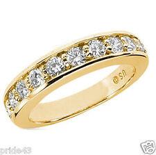 1.21 carat Round Diamond Wedding Band 18k Yellow Gold Ring 0.11 ct each G SI1