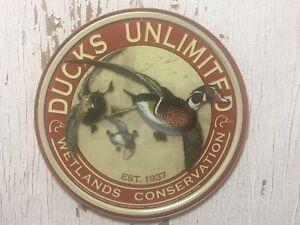"Ducks Unlimited Wetlands Conservation EST. 1937 ~~~12"" round metal sign"