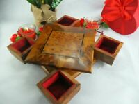 Thuya wooden jewelry box, handmade red velvet Lined secret turning puzzle box