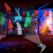 Santa Claus Reindeer Moving Action LED Laser Projector Lamp Xmas Outdoor Light