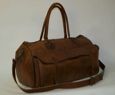 """Men's Brown Vintage Genuine Leather 22"""" large Travel Luggage Duffle Gym Bags"""