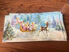 Vintage Christmas Card Glitter Deer Pulling Her Angels American Greetings