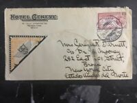 1930 Mexico City Commercial Airmail cover Hotel Geneve To New York USA