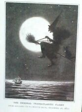 Halloween Witch On Broom & Cat Full Moon Orig Flight England To Plymouth Rock