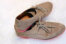 Mossimo Supply Co. Lt Brown Suede Hot Pink Soles Loafers Flats Lace Up Women's 8