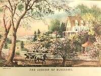 "Vintage Currier & Ives Print The Season of Blossoms 14"" x 10"""