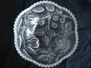 ABP Signed TUTHILL Intaglio Cut Glass Bowl W/ Fruit Grapes Pears Strawberries