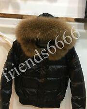 NEW Women Big Real Fur Hood Real Down Parka Short Light Parka Jacket Coat