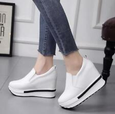 Womens Wedge High Heels Sneakers Slip On Loafers Casual Shoes Running Platform V