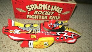 SCHYLLING FLASH GORDON SPARKLING ROCKET FIGHTER SHIP TIN FRICTION TOY IN BOX NOS