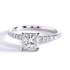 0.95 Ct Vvs2 H Corte Princesa Francés Diamante Pavé Anillo de Compromiso