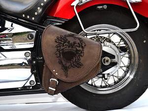 Cuir Marron Bras Oscillant Skull Simple Panier Selle Sac Harley Davidson Pour