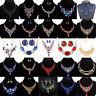 Fashion Women Crystal Bib Necklace Choker Chunky Statement Pendant Chain Jewelry