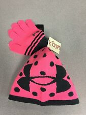 1 set NWT Under Armour toddler girl knit beanie & glove Sz:M 4-7 Year Polka Dot