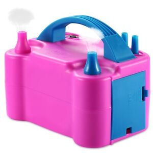 Portable Double Electric Balloon Air Pump Inflator 110V Blower Party Pink USA