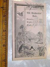1881 Old Mechanics' Fair, Lovely Birds Engraved Weight Height, MA Trade Card F13