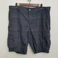 Koppen Mens Cargo Shorts 38 Gray White Plaid Flat Front