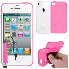 Housse Etui Coque Souple Silicone Gel Rose Apple iPhone 4S 4 + Mini Stylet