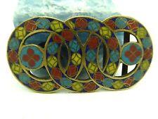 Vintage Closinee Chinese Enamel Brass 3 Overlapping Circles Sash Belt Buckle