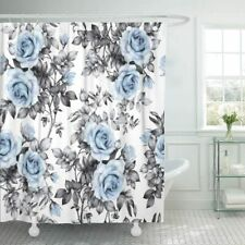 Blue Gray Rose Floral Victorian Farmhouse Boho Fabric Shower Curtain + Hooks