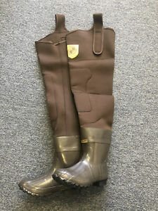 Kobuk Neoprene Hip Wader Fishing/Hunting Hipper Rubber Sole Size 9-13 Brown